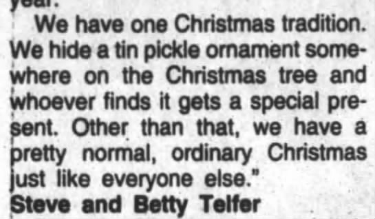 Family hides pickle ornament in Christmas tree - We have one Christmas tradition. We hide a tin...