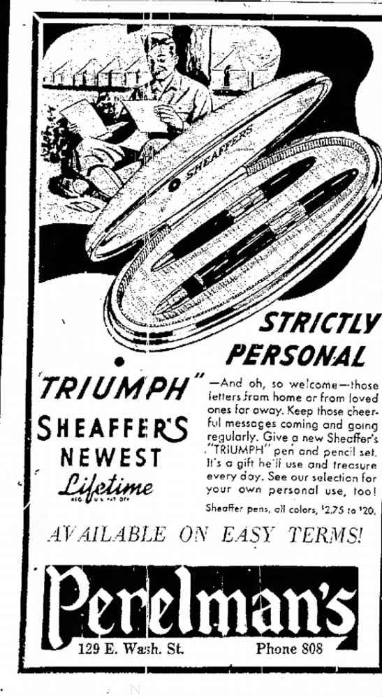 1942 Sheaffer Triumph Ad - TRIUMPH SHEAFFER3 NEWEST STRICTLY PERSONAL And...