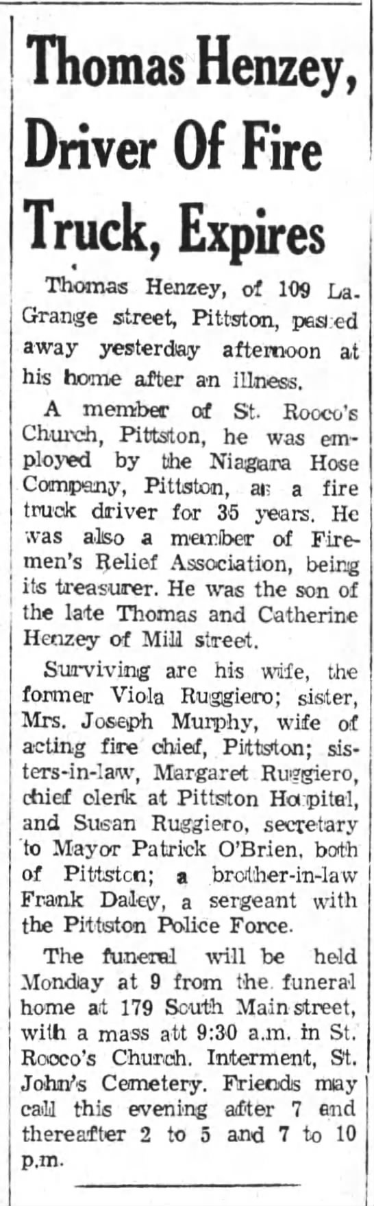 Th. Henzey, fire truck driver dies 1959 - Thomas Henzey, Driver Of Fire Truck, Expires...