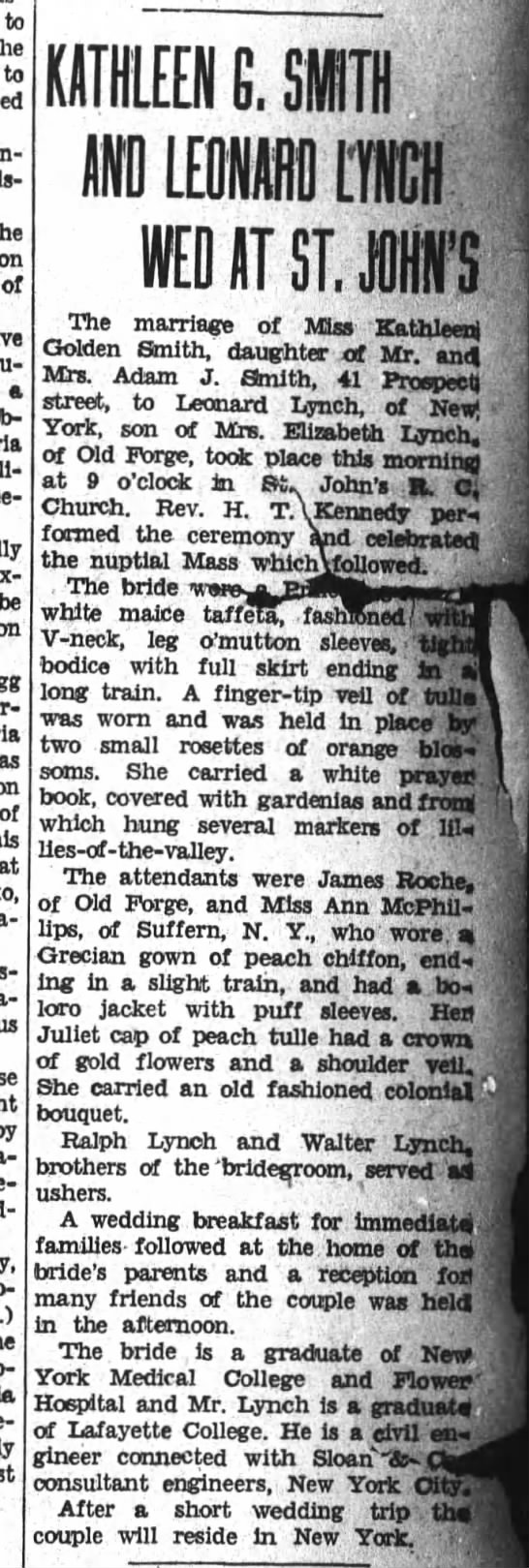 Kathleen Golden Smith marries Leonard Lynch - to the to of a be of at C. WED AT ST. JOHN'S...