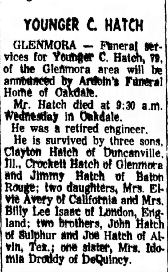 Younger C. Hatch Obituary - YOUNGER £ HATCH GLENMOKA - Fbnerai m- vices for...
