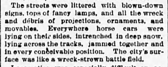 Great Blizzard of 1888 - The streets were littered with blowndown signs...