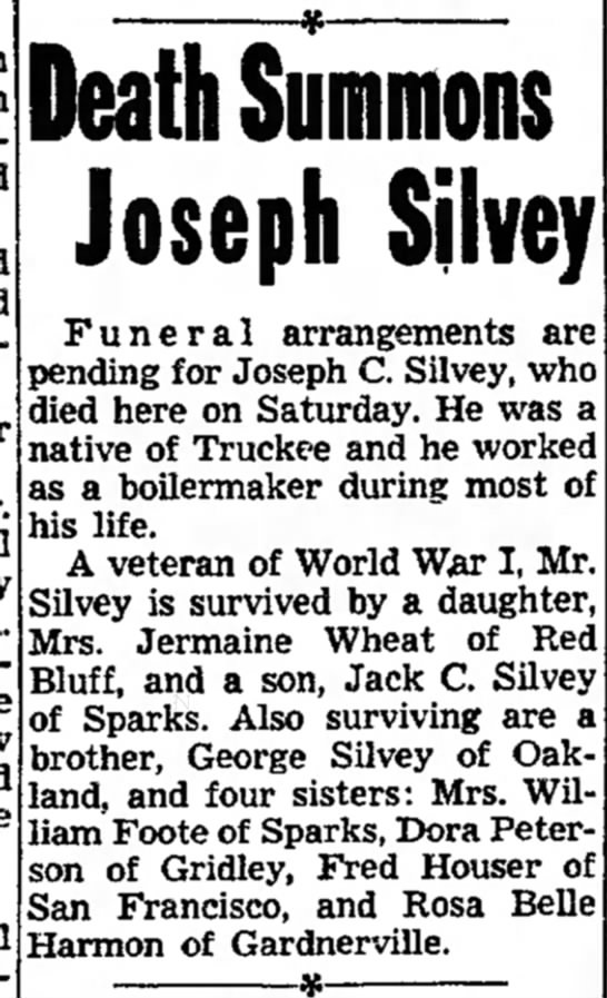Death Summons Joseph Silvey (Sunday, 7 August 1955, page 10, column 2) - impulse and and for lecturer. the threw and...