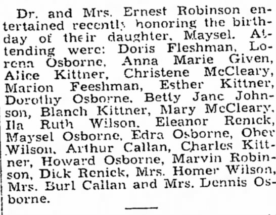 Christene McCleary, Mary McCleary - The Charleston Daily Mail 10 December 1933 Page 5 - , ..... i tending Lela ] Dr. and Mrs. Ernest...