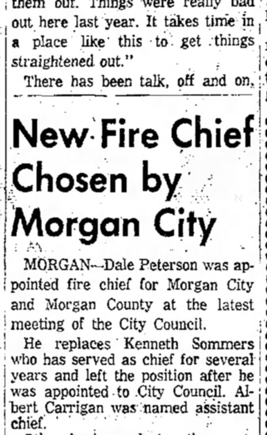 1959 Albert Carrigan Morgan assistant Fire Chief - them out. Things were really bad out here last...