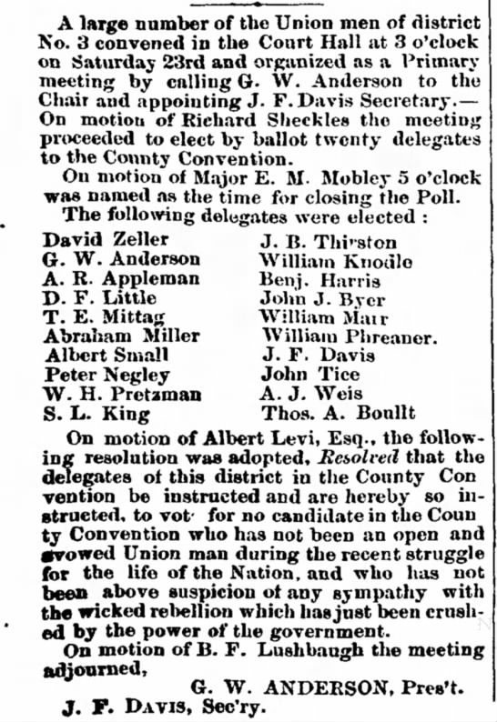 Delegates to County Convention - 27 Sep 1865 - A large number of tbe Union men of No. 3...