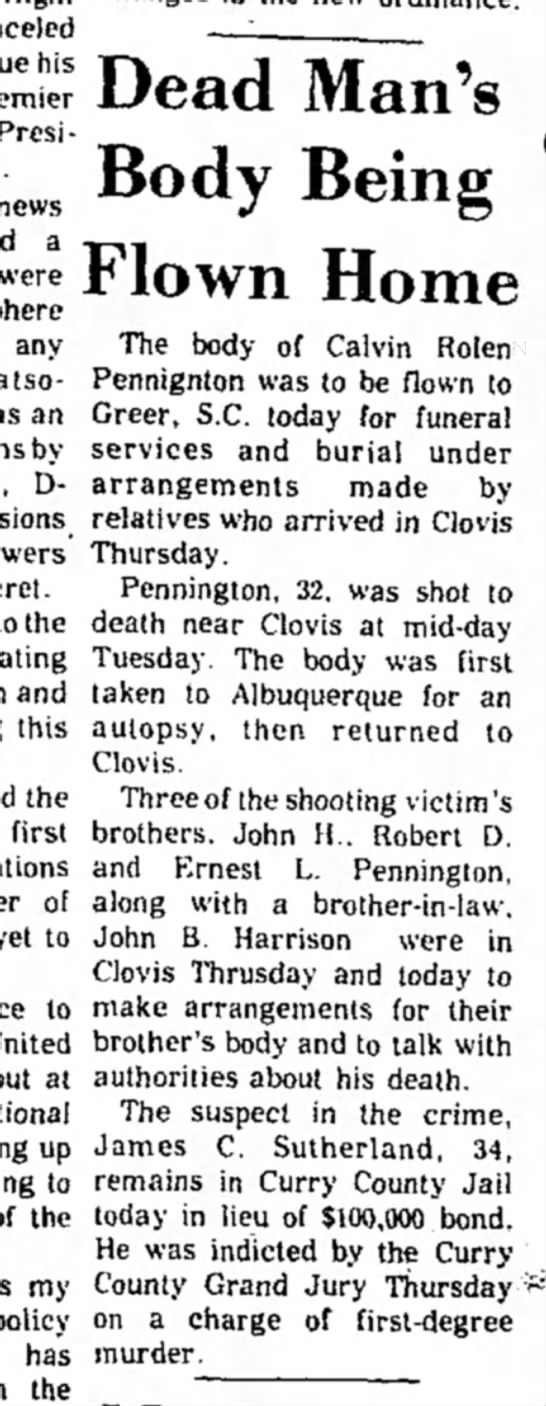 Calvin Rolen Pennington death information June 1974 - his President news a were any an by- D- Dead...