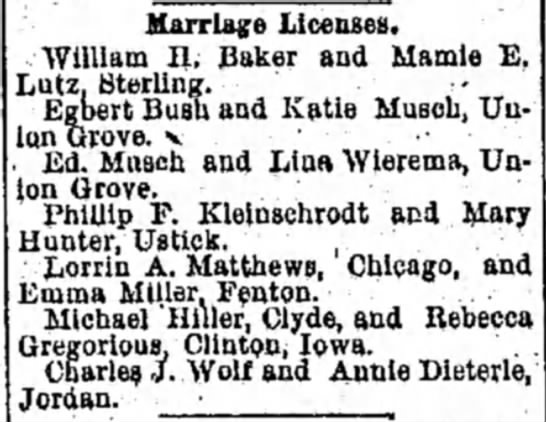 rebecca gregoious and michael hiller marriage license 1893 - Marriage Licenses. William II. Baker and Mamie...