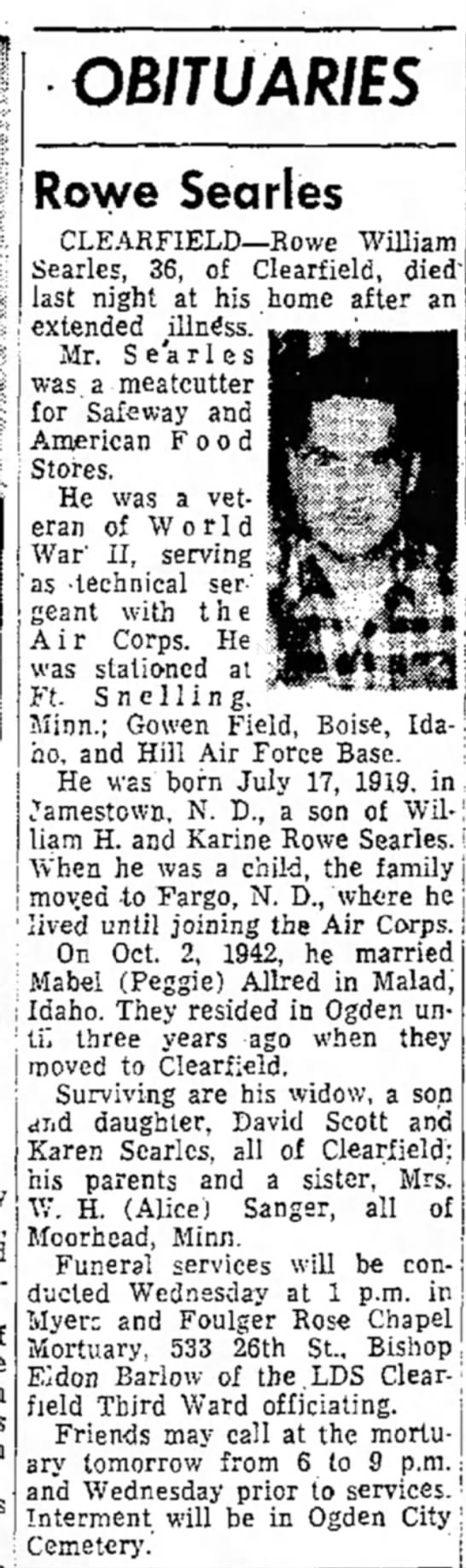 Rowe Searles 1st husband of Mabel Allred                - OBI7U ARIES Rowe Searles CLEARFIELD—Rowe...