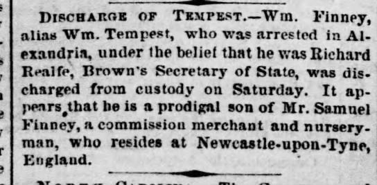 Wm Finney alias Wm Tempest - Discharge of Tempest.—Win. Finney, alias Wm....