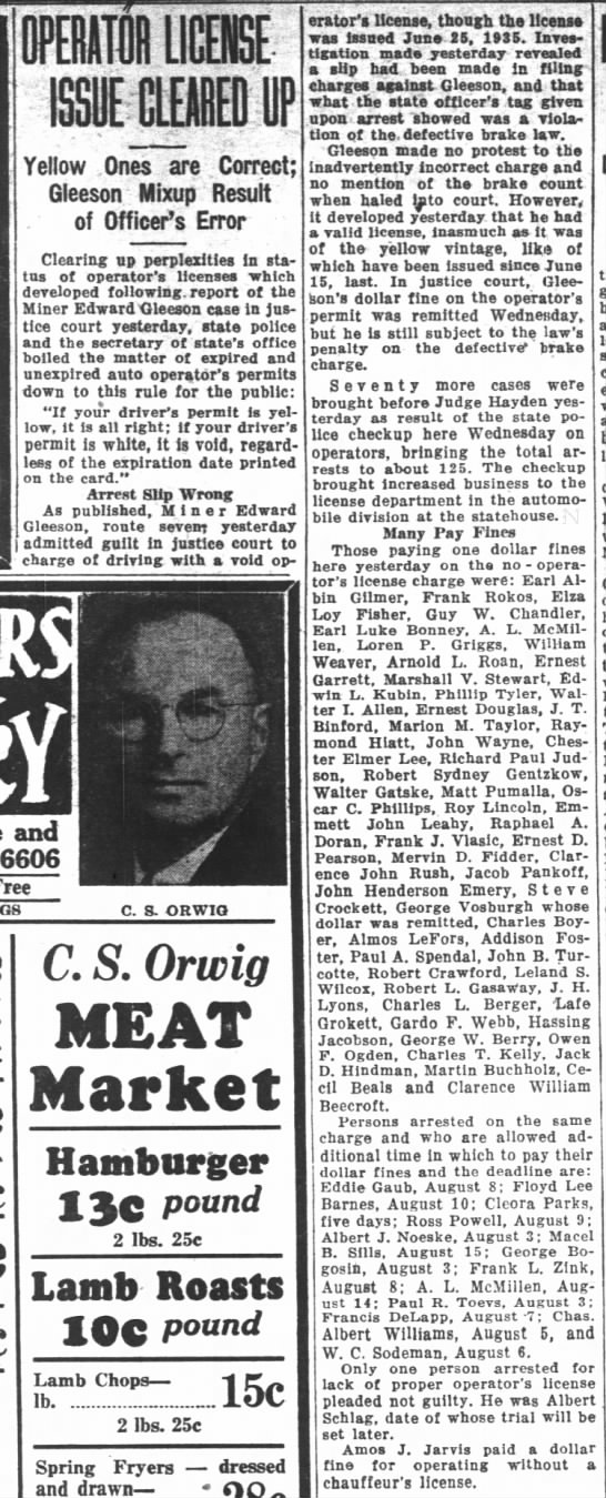 Dad arrested fro non-operator license. Oregon Statesman 2 aug 1935 - nnrr LILtl tnr at- at- ISSUE CLEARED UP ... -.....
