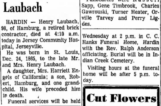 - Laubach HARDIN — Henry Laubach, 98, of Hamburg,...