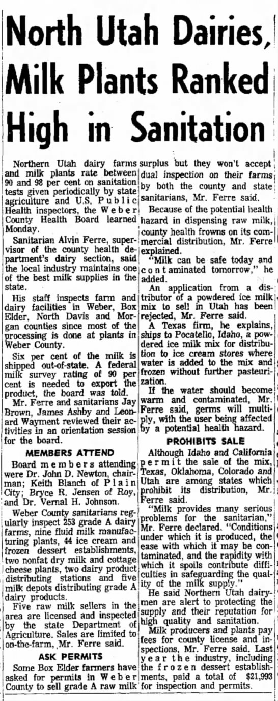 28 january 1969 - North Utah Dairies, Milk Plants Ranked High in...