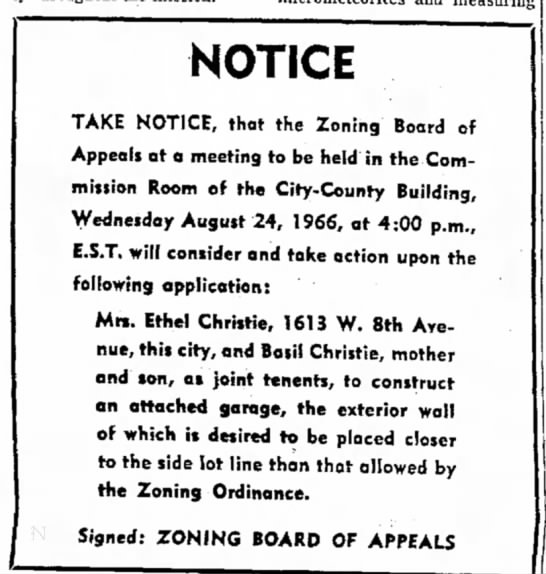 - NOTICE TAKE NOTICE, that the Zoning Board of...