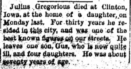 julius gregorious death 1893 nov sterling standard - Juliua .Gregorious 'died at Clinton, Iowa, at...