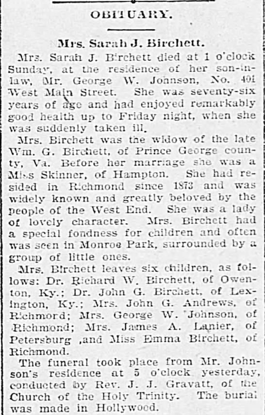 The Times (Richmond, VA) 29 May 1900    Birchett/Skinner/Andrews - OLiliUAl?Y. Mrs. Sarah J. Birehett. Mrs. Sarah...