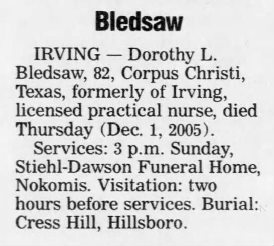 Dorothy L. (Crigler) Bledsaw 2005 Death Notice - Bledsaw IRVING Dorothy L. Bledsaw, 82, Corpus...
