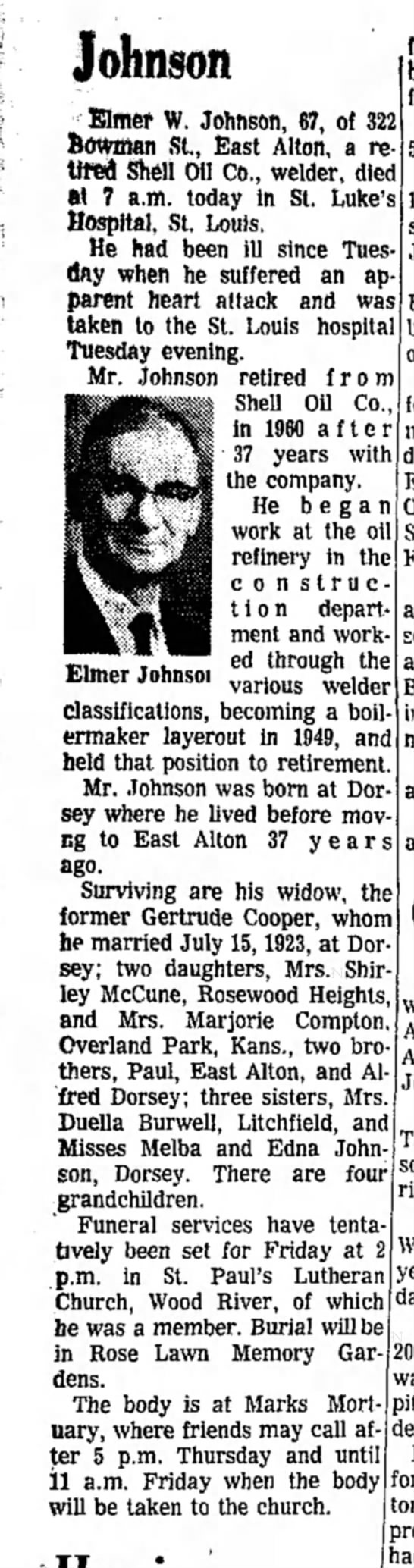 Johnson_Elmer_Obit_1964 - Joh nson Klmw W. Johnson, 67, of 322 Bowman...