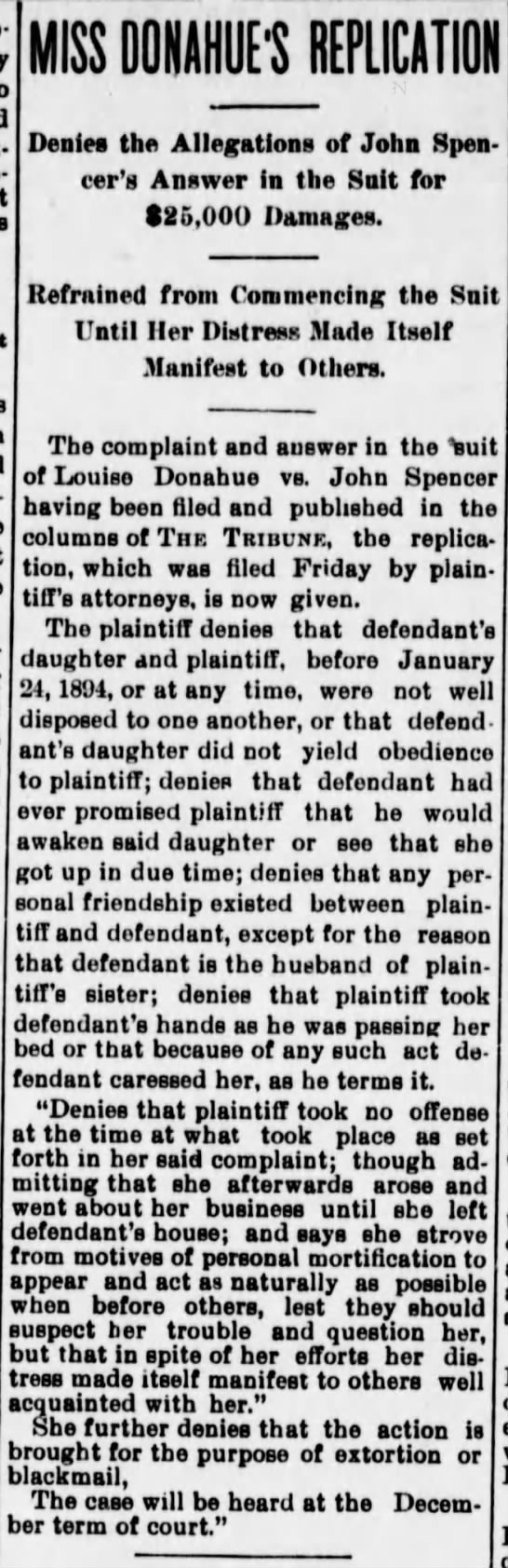 Great Falls Weekly Tribune, Friday, October 26, 1894 - MISS OOIAHUEl'S REPLICATII Denies the...