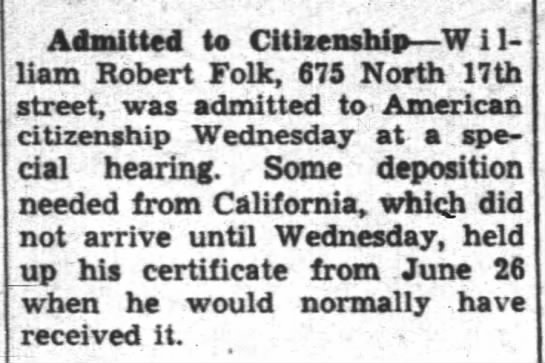 Admitted to Citizenship - Admitted to Citlaenship W i 1- 1- ap-1 liam...