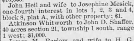 Atkinson Whitworth 13 Sep 1889 land sale - John Hell and wife t Josephine Mesick Hei...