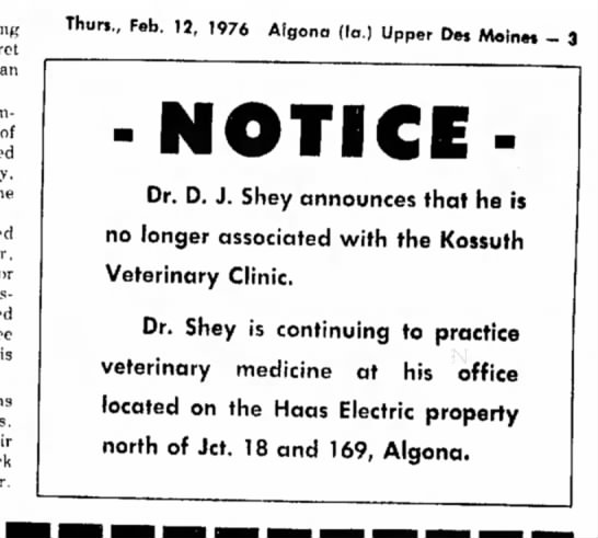 doc shey notice - of is Thurs., Feb. 12, 1976 Algona (la.) Upper...