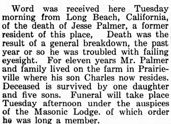 Jesse Palmer obituary. - Word was received here Tuesday morning from...
