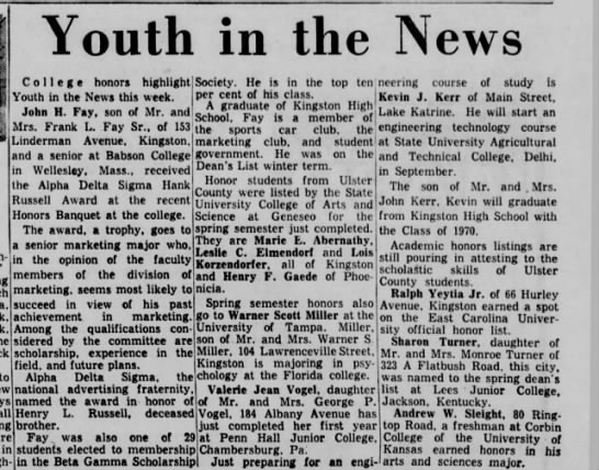 Uncle John college honors - Youth in the News in the top ten neering course...