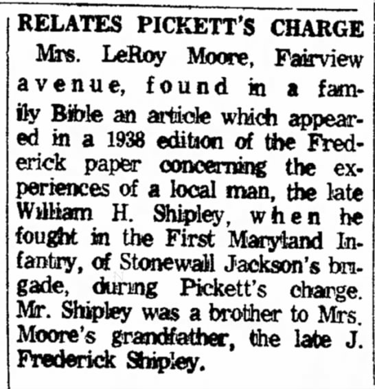 Mrs LeRoy Moore-The News Monday 3 Jul 1961 - Lincoln Westminster. RELATES PICKETT'S CHARGE...