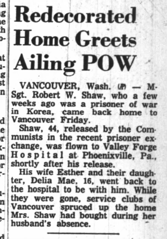 Redecorated home greets Shaw - Redecorated Home Greets Ailing POW VANCOUVER....
