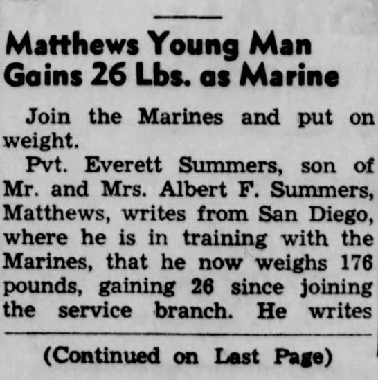 part 1 of 2 - Matthews Young Man Gains 26 Lbs. as Marine Join...