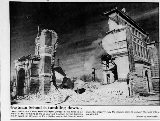 Demolition of Gastman School, Jan 2, 1981 - rife1 pggn . v, ;:fk -g) p-lJ - N ' : Gastman...