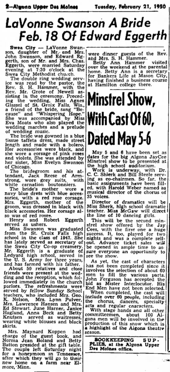 LaVonne Swanson marries Ed Eggerth 1950 - i-Ai»ofia Upper Dot Motmt Tuesday, February 21,...