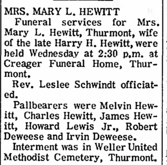 Mrs Mary L Hewitt Obituary, The News, Frederick, Maryland, 3 Jun 1971, pg 5 - Em 2 MRS. MARY L. HEWITT Funeral services for...
