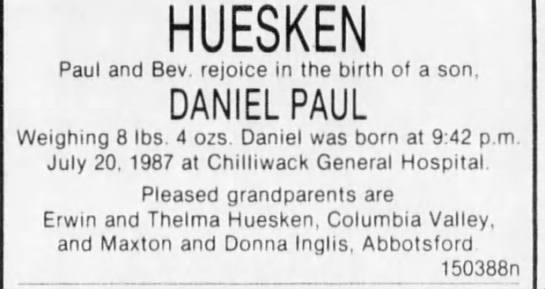 - HUESKEN Paul and Bev. rejoice in the birth of a...