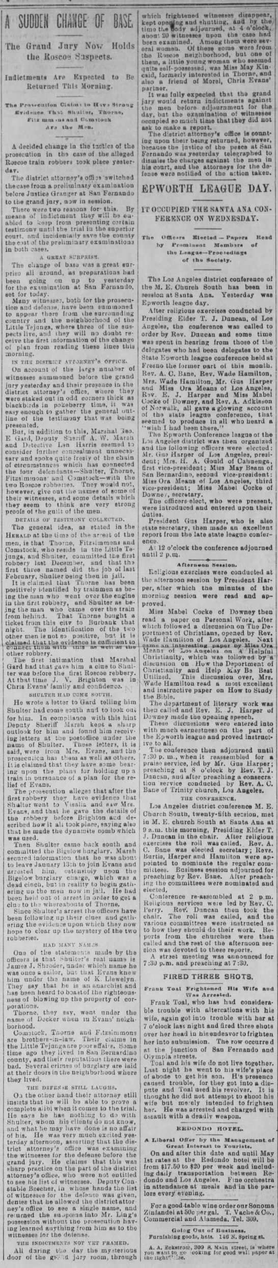 """Grand Jury Now Holds the Roscoe Suspects"" - Los Angeles Times 20 Apr 1894 - A SUDDEN CHANGE OF BASE. The Granil Jnry Nov..."