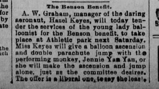 Hazel Keyes Balloonist 1894 - the for by the Tho B»niou Boneflt. A. W....