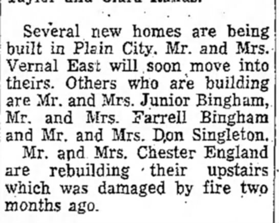 JR building a new home in plain city 4 July 1956