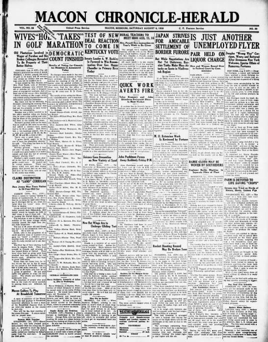 Macon Chronicle-Herald - MACON CMEOMCLEEALD VOL. NO. 29 United Press...