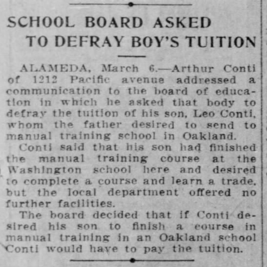 Conti - tuition - SCHOOL BOARD ASKED TO DEFRAY BOY'S TUITION...