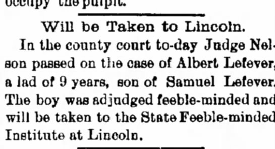 Samuel Lefever Decatur Daily Republican 30 June 1890 - HO Will be Taken to Lincoln. In the connty...