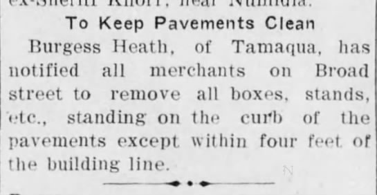 The Daily News 30 April 1909 - To Keep Pavements Clean Burgess Heath, of...