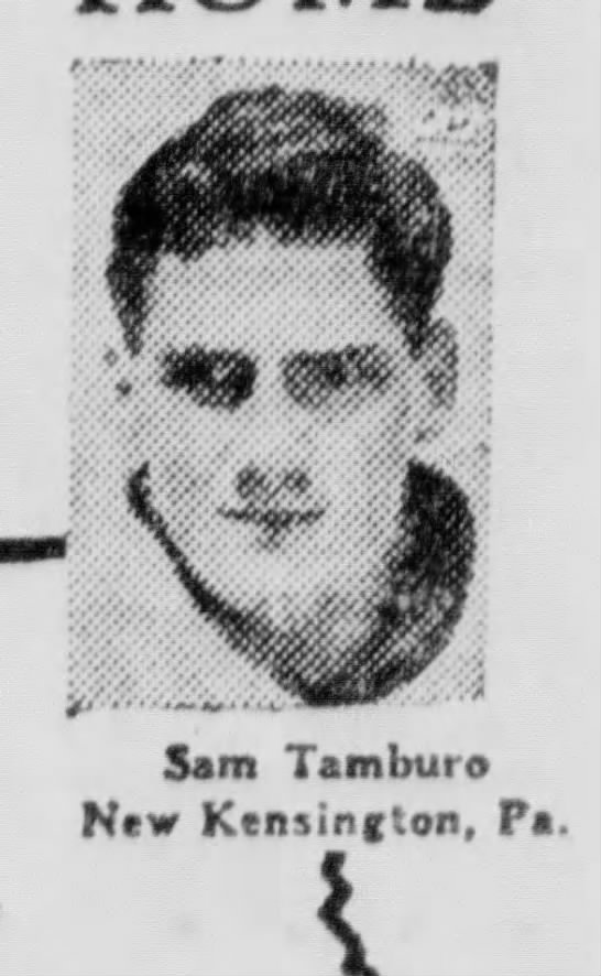 Sam Tamburo, Football Star 1948 - Sam Tamburo New Kcnsinfton, Pa.