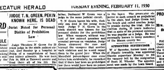 1930.02.11 Judge T.N. Green dead
