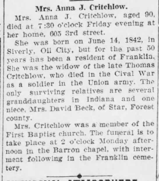 Annie J Philips Critchlow Obituary 1932 Spouse Thomas Holt Critchlow 1841-1892 - Mrs. Anna J. Critchlow. Mrs. Anna J. Critchlow,...