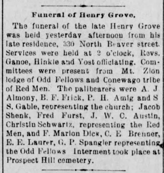Fred Furst Conewago tribe of Red Men. Henry Grove obituary - Funeral of Henry Grove. The funeral of the late...