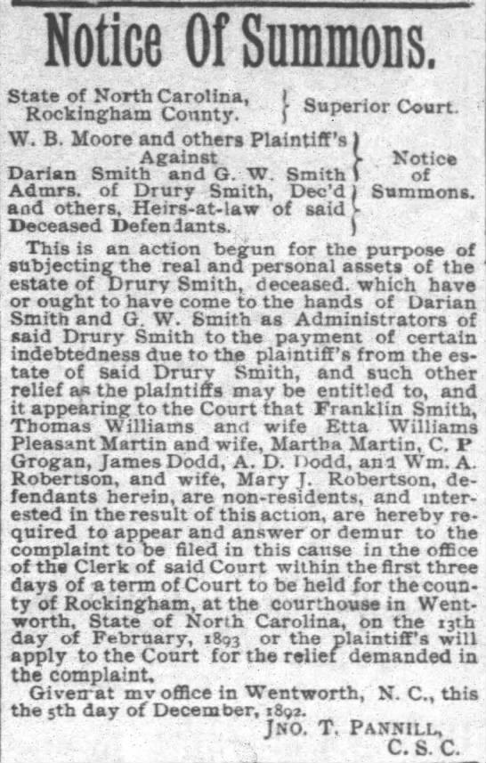 Reidsville Review Jan. 6, 1893 - Martha Smith Martin - Notice Of Summons. State of North Carolina, I c...