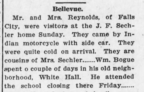 BCW 21 May 1915 p12 - Dellevue. Mr. and Mrs. Reynolds, of Falls City,...