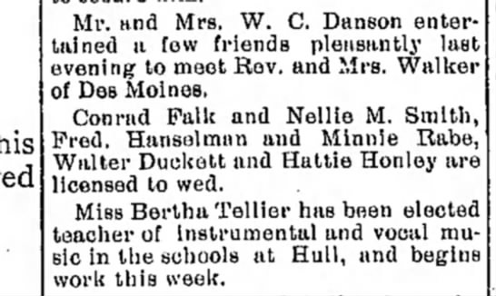 THE LOCAL FIELD - Mr. and Mrs. W. C. Danson entertained...