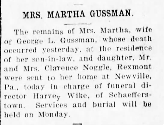Mrs. Martha Gussman death notice - MRS. MARTHA GUSSMAN. The remains of Mrs....